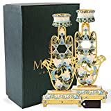 #9: Shabbat Candlesticks Hand-Painted, Gold-Plated Pewter | Tall, Vintage Craftsmanship | Personal or Religious Use (Blue Hamsa)