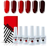 Vishine Red Colors Collection Gel Polish Set- Pack of 6 Colors Shine Finish and Long Lasting, Soak Off UV LED Gel 8ml…