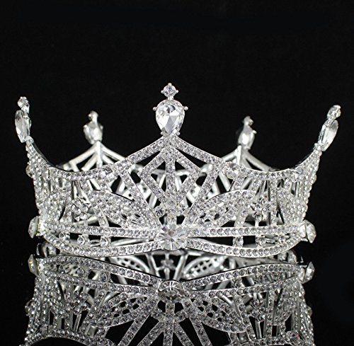 Janefashions Miss America Crown Austrian Rhinestone Crystal Hair Tiara Pageant T1299 (Silver-Tone)