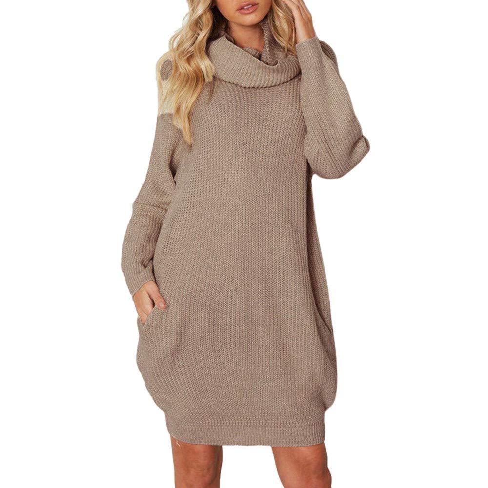 REALIKE Kleid Damen Frau Elegant Turtleneck Tasche Langarm Kleid Einfarbig Gestrickt Kleid Mode Lose Kleid Casual MiniKleid Partykleid HerbstKleid Basickleid Abendkleid