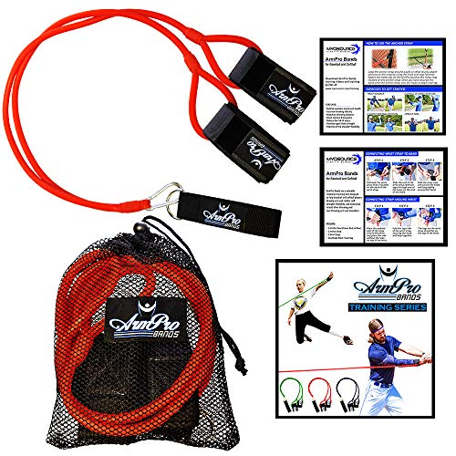 (Arm Pro Bands - Resistance Training Bands for Baseball and Softball Arm Strength and Conditioning - Available in 3 Levels (Youth, Advanced, Elite) Anchor Strap, Travel Bag, Digital Training Downloads)