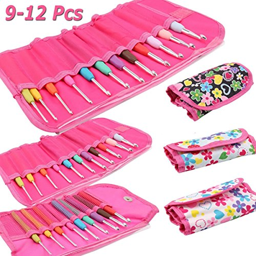 WCHAOEN 9/11/12Pcs Crochet Hook Set Knitting Needle Yarn Handle Organiser Case Set Tool Accessories Tool