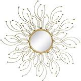 Espejo Sol de Metal Dorado romántico para la Entrada de 85 cm France - LOLAhome