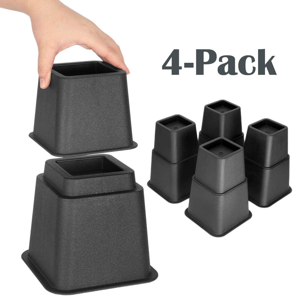 Supports up to 1,300 lbs - 8 Piece Set, Black Elevation in Heights 3 5 or 8 Inch Heavy Duty Furniture Risers for Sofa and Table ZOYER Adjustable Bed Risers