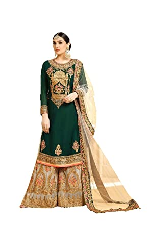 5ac3a73381 Delisa New Indian/Pakistani Ethnic wear Georgette Plaazo/Sharara Salwar  Kameez Women New Sharara