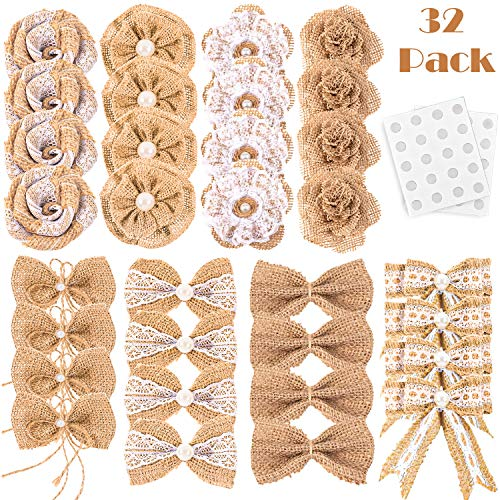 Whaline 32Pcs Burlap Flowers and Burlap Bowknots Set, Including Vintage Burlap Rose Flowers, Jute Twine Burlap Flowers, Pearl Burlap Flowers, Bowknots, 8 Styles for DIY Craft Wedding Party Gift Decor -