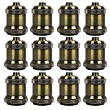 AAF Vintage Antique Bronze Screw Light Bulb Lamp Holder Edison E26 / E27, Pack Of 12