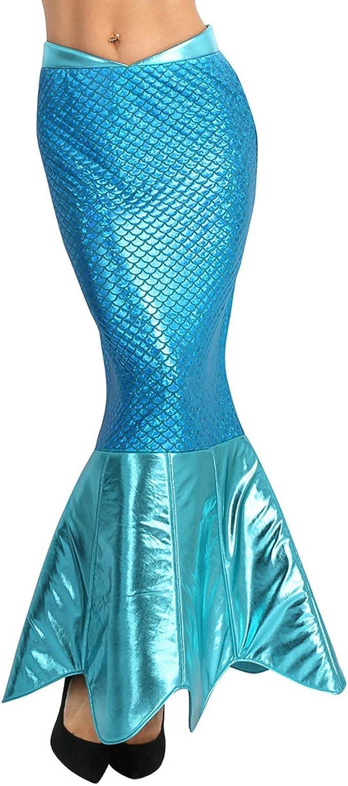 MSemis Falda de Cola para Mujer A-línea Disfraz de Sirena Azul ...
