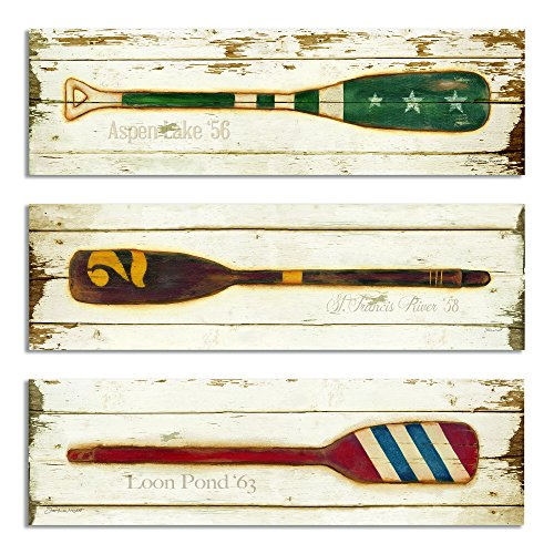 The Stupell Home Decor Collection Vintage Oars 3-Piece Rectangle Wall Plaque Set by The Stupell Home Decor Collection