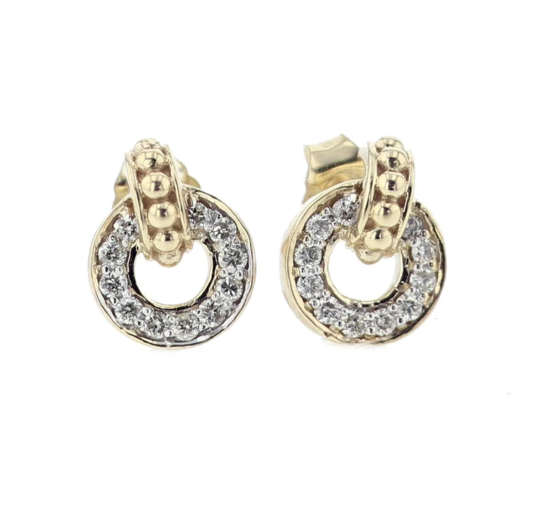 14K Gold Diamond Earrings for Women Round Circle Drop Style 1/4ctw Diamonds 10.5mm