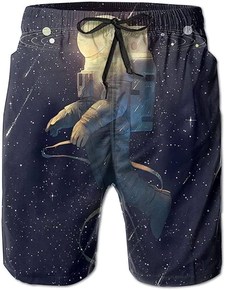 Universe Astronaut Mens Beach Shorts Classic Summer Surfing Trunks Surfing Running Swimming Watershorts with Pockets