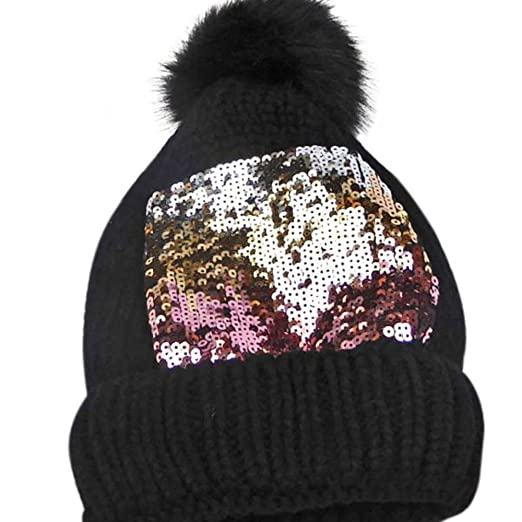 9a3b0ce7565fe Women s Warm Beanie Hat with Pom Knit Cap with Sequin Sparkly Embroidery  (Black)