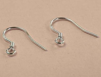 50Pcs 925 Sterling Silver French Wire Earring Hooks Fish Hook Earrings DIY-Craft