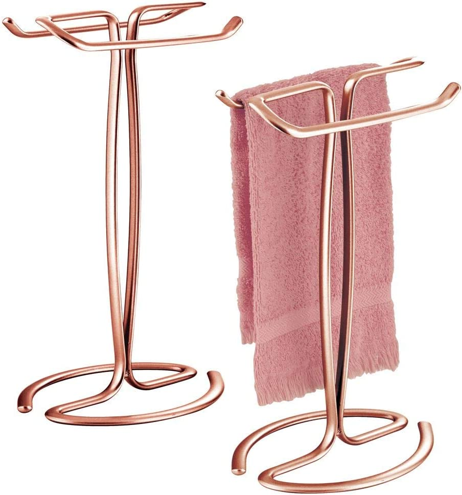 mDesign Decorative Metal Fingertip Towel Holder Stand for Bathroom Vanity Countertops to Display and Store Small Guest Towels or Washcloths 2-Sided 13.8 High Black 2 Pack
