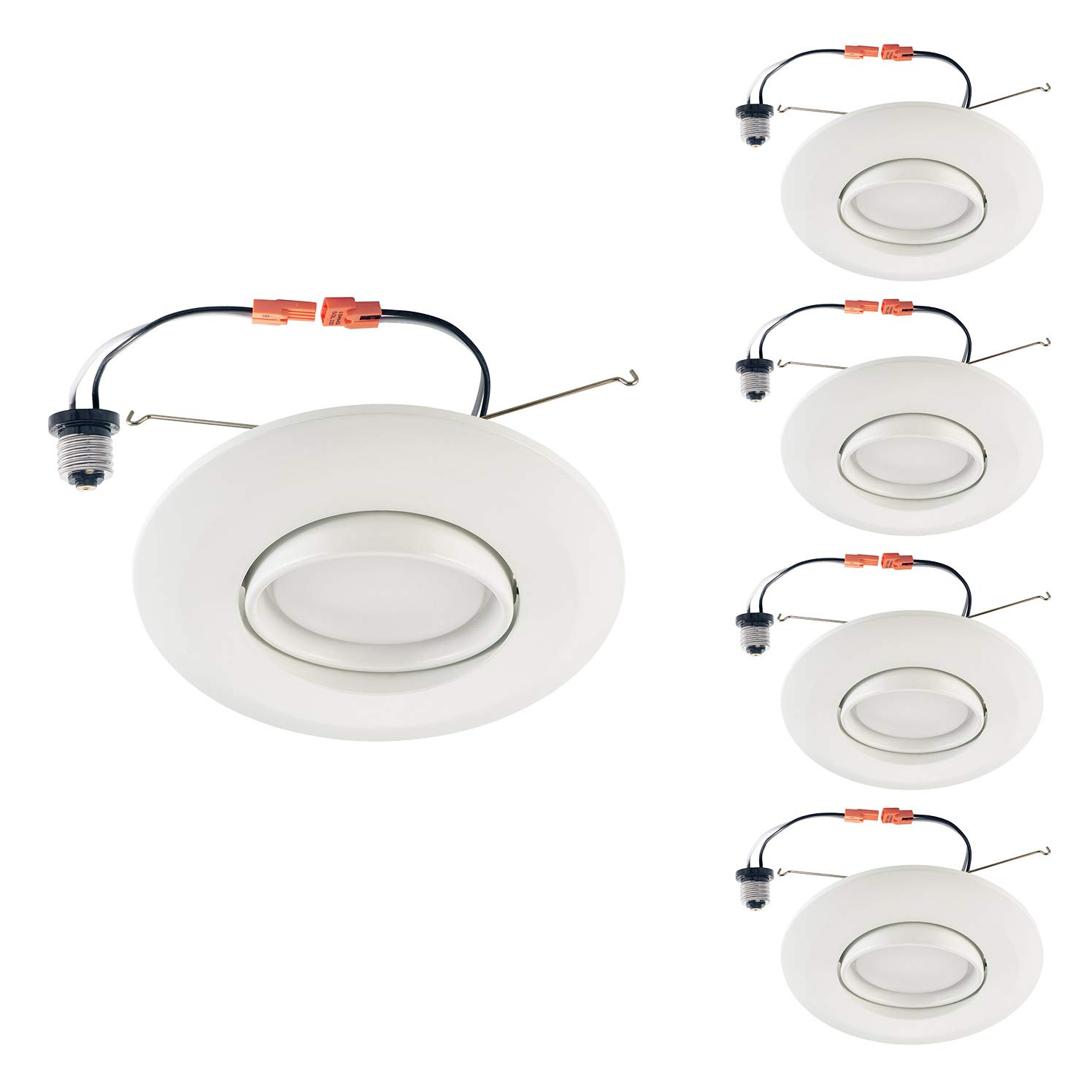 OSTWIN (4 Pack) 6 Inch Adjustable LED Gimbal Downlight, Retrofit Gimbal Ceiling Lighting Fixture Dimmable Recessed Mount, 15 W (120 Watt Replacement), 1250 Lm, 4000K Bright Light, ETL & Energy Star