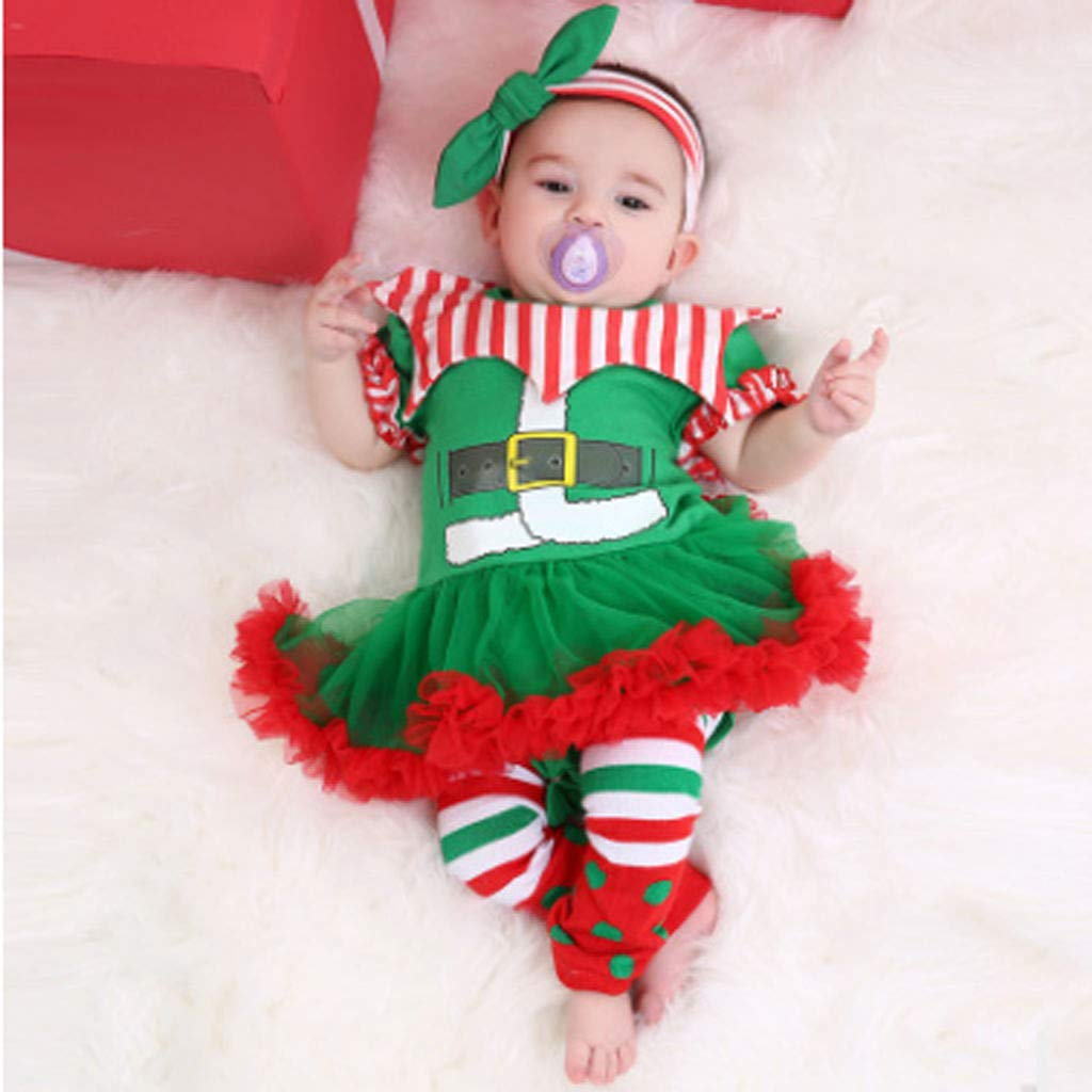 Headband First Christmas Clothes Set Leg Warmers Voberry Baby Girl My 1st Christmas Tutu Dress Outfits Romper Bodysuit