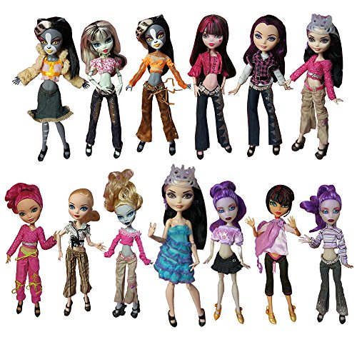 BARWA 10 Sets Doll Clothing Packs Causal Clothes Dress Outfits for Monster High Dolls -