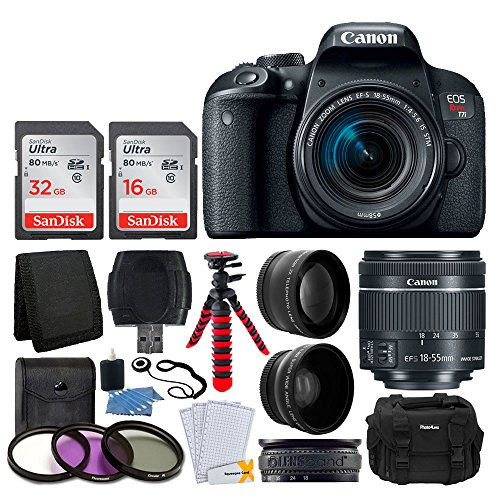 Canon EOS Rebel T7i Digital SLR Camera with EF-S 18-55mm f/4-5.6 is STM Lens + 58mm Wide Angle Lens + 2X Telephoto Lens + 48GB SD Memory Card + UV Filter Kit + Flexible Tripod – Full Accessory Bundle For Sale