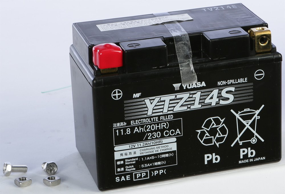Yuasa GRT & YTZ Sealed Battery - YTZ14S - 6 x 3-7/16 x 4-3/8 Inches - YUAM72Z14 tr-581383