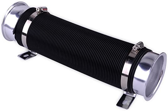 """3/"""" Flexible Adjustable Car Turbo Cold Air Intake Duct Inlet Pipe Hose Kit Silver"""