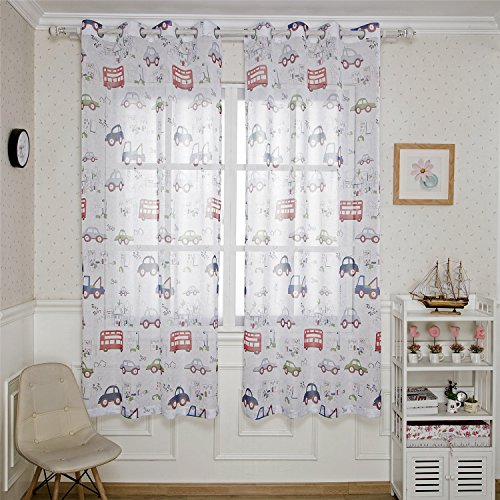 BGment 2 Panels, Car Printed Modern Voile Curtains Metal Grommets Window Cloth for Infant Room,1Pair(52