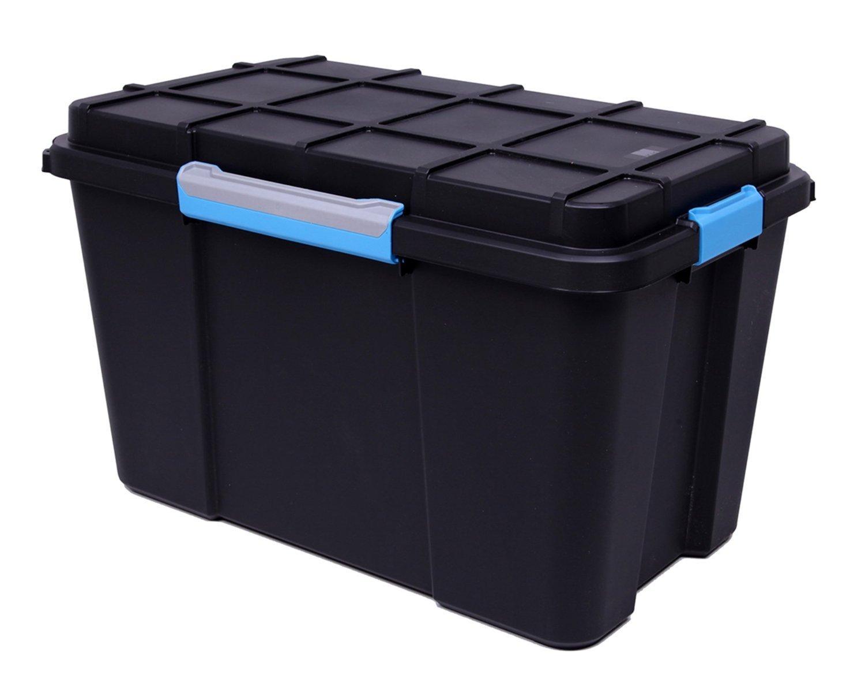 Kis, extragroße Aufbewahrungsbox für Tauchausrüstung, mit Rollen, Kunststoff, 110 Liter, wasserdicht, Schwarz - ideal als Aufbewahrungsbox auf dem Dachboden, im Keller, in der Garage (3) schwarz