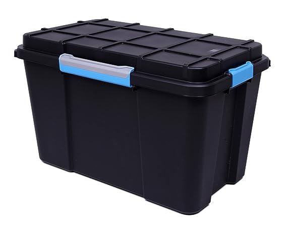 Contenedor de plástico extra grande, hermético, con ruedas, 110 litros, negro, ideal para almacenamiento en ático, sótano o garaje (3): Amazon.es: Jardín