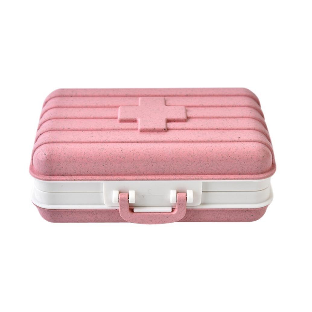 Botrong Pill Medicine Box Holder Storage Organizer Container Case Portable (Pink)