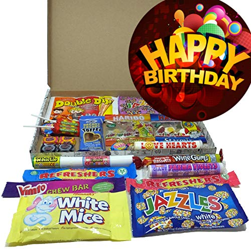 Customised Special Occasion Retro Sweets Gift Box – Pick from Happy Birthday, Good Luck, Get Well Soon & Thank You Designs – Present for Mum, Dad, Son, Daughter, Gran and Grandad
