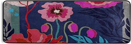 Rug Autumn Colors Silk Scarf Blooming Poppies Runner Rug Doormat Area Rug Home Decor Modern Rug