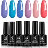 Beetles Gel Nail Polish Set, Sunset Tides Collection Soft Blue Purple Pink Nail Polish Gel Nail Lacquer Kit Nail Art…