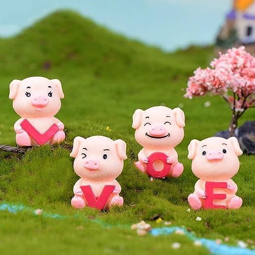 Whiie891203 - Figura Decorativa de Cerdo en Miniatura, diseño de jardín de Hadas en Miniatura, 4 Unidades, 4 Unidades.: Amazon.es: Jardín