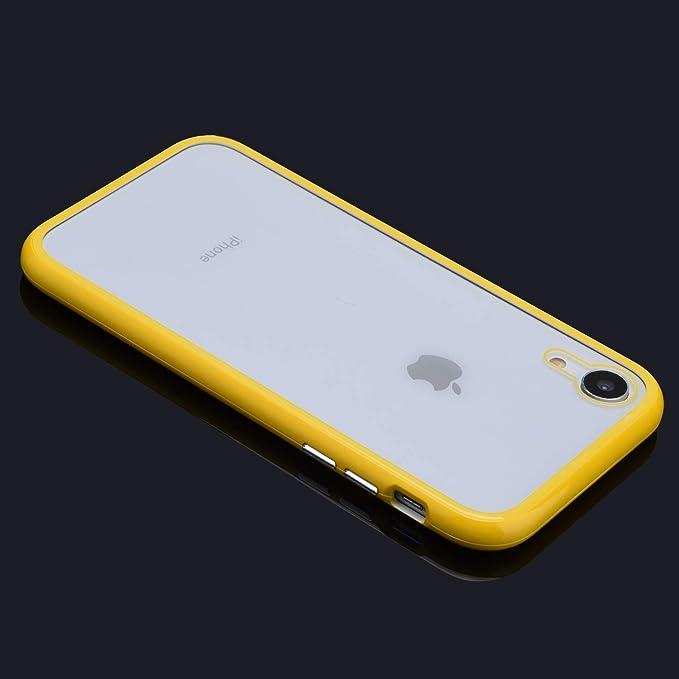 Funda magnetica Compatible con iPhone XR Carcasa 360 Grados 2 en 1 r/ígido PC Tapa Adsorci/ón Magn/ética Marco de Metal Caja Dura Trasera de Vidrio Templado Transparente Case.Amarillo