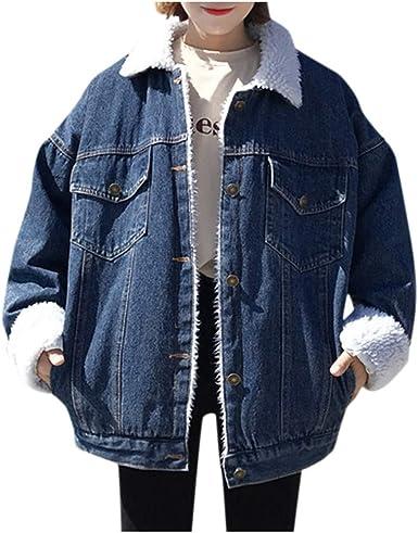 JOFOW Womens Denim Jacket New Winter Faux Fur Collar Cowboy Oversize Boyfriend Parka Coat Quilted Coat Fleece Padded Outwear