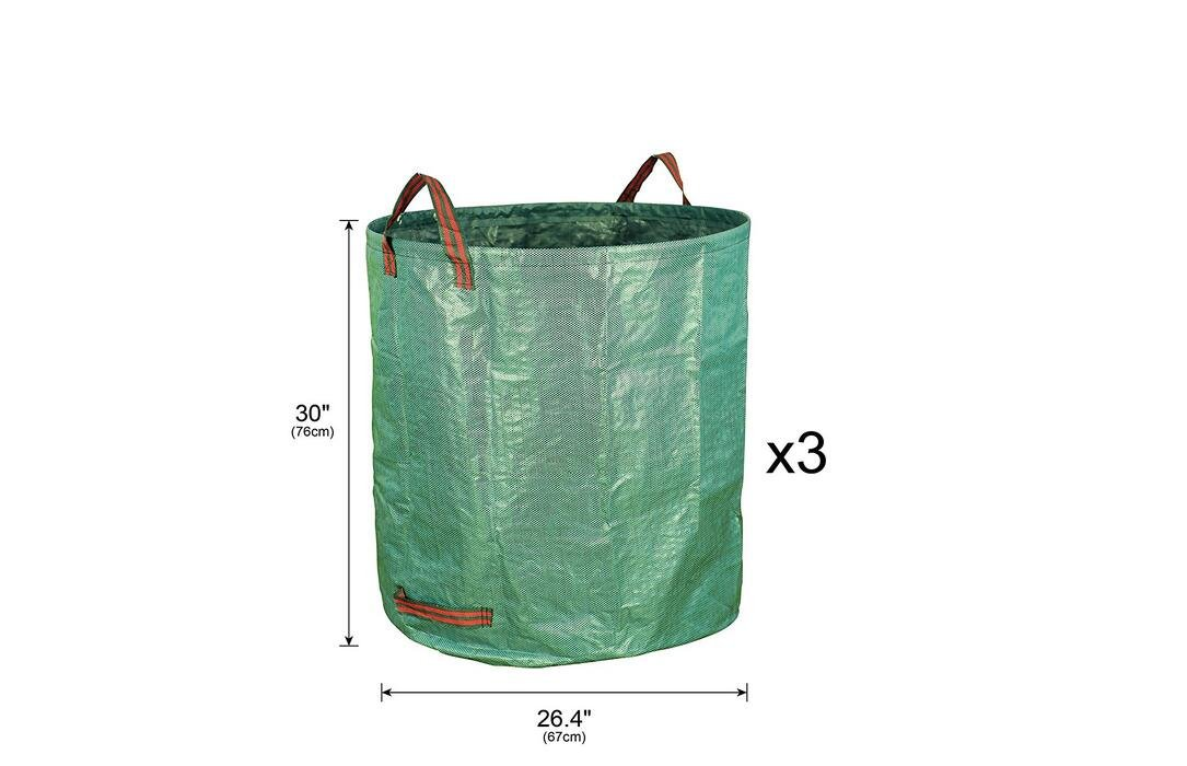 Green Yard Waste Bags for Lawn and Leaf Bag Heavy Duty Military Canvas Fabric EBDcom 3 x Garden Bags 72 Gallons Collapsible and Reusable Gardening Containers