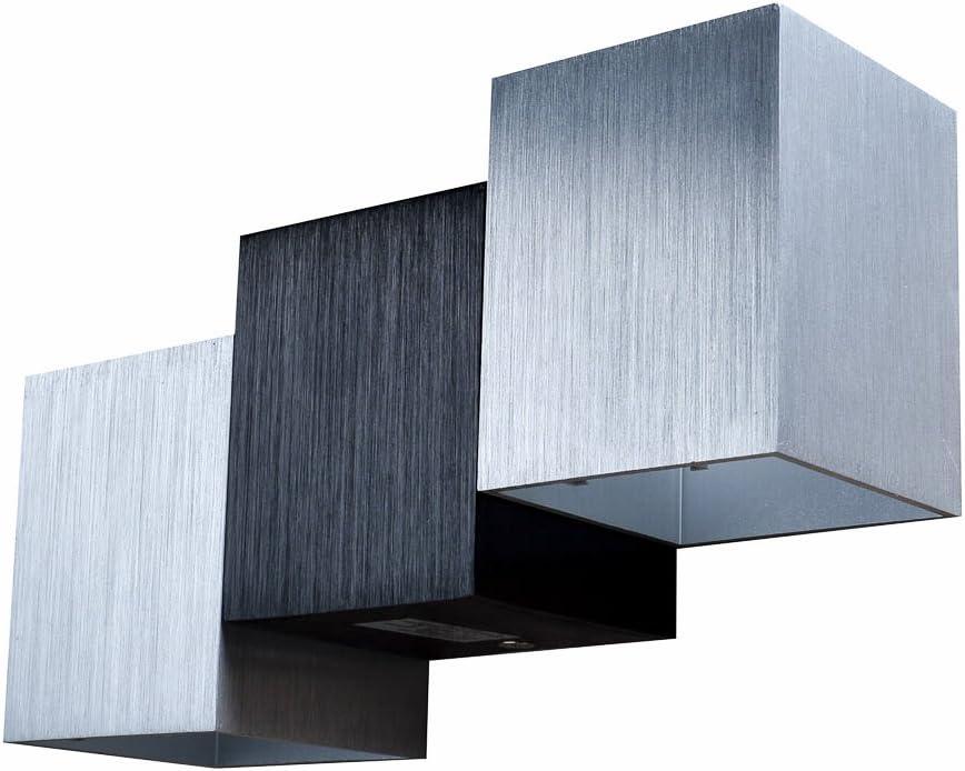 AGPtek 6W Lámpara de Pared de Interior, Aplique Moderno para Sala de estar, Pasillo, Escalera, Comedor, Dormitorio.(Argéntea Cúbica): Amazon.es: Iluminación