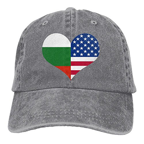 E-Isabel Love American USA Bulgarian Flag Adjustable Travel Cotton Washed Denim Caps Ash