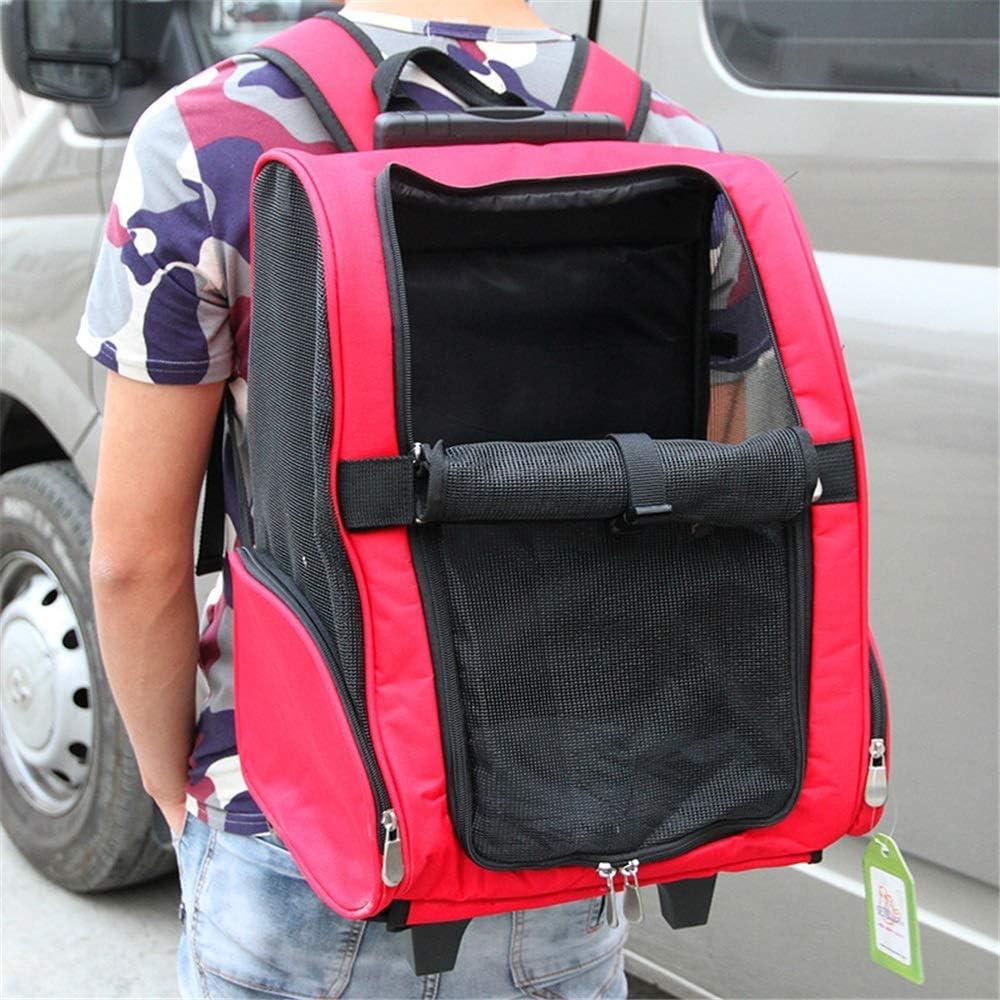 Carro para mascotas Pet Trolley Case Dog Out Pack Carrier Car Bag Portable Cat Bag Transpirable doble hombro Korah Portable Cochecito para mascotas Gato / Perro ( Color : Rojo , tamaño : 35*25*40cm )