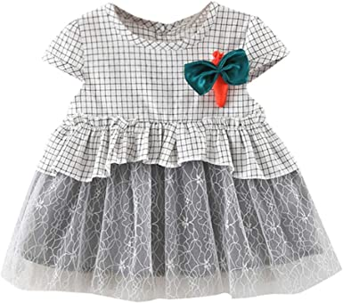 Toddler Baby Kids Girls Patchwork Ruched Print Tulle Dress Princess Party Dress