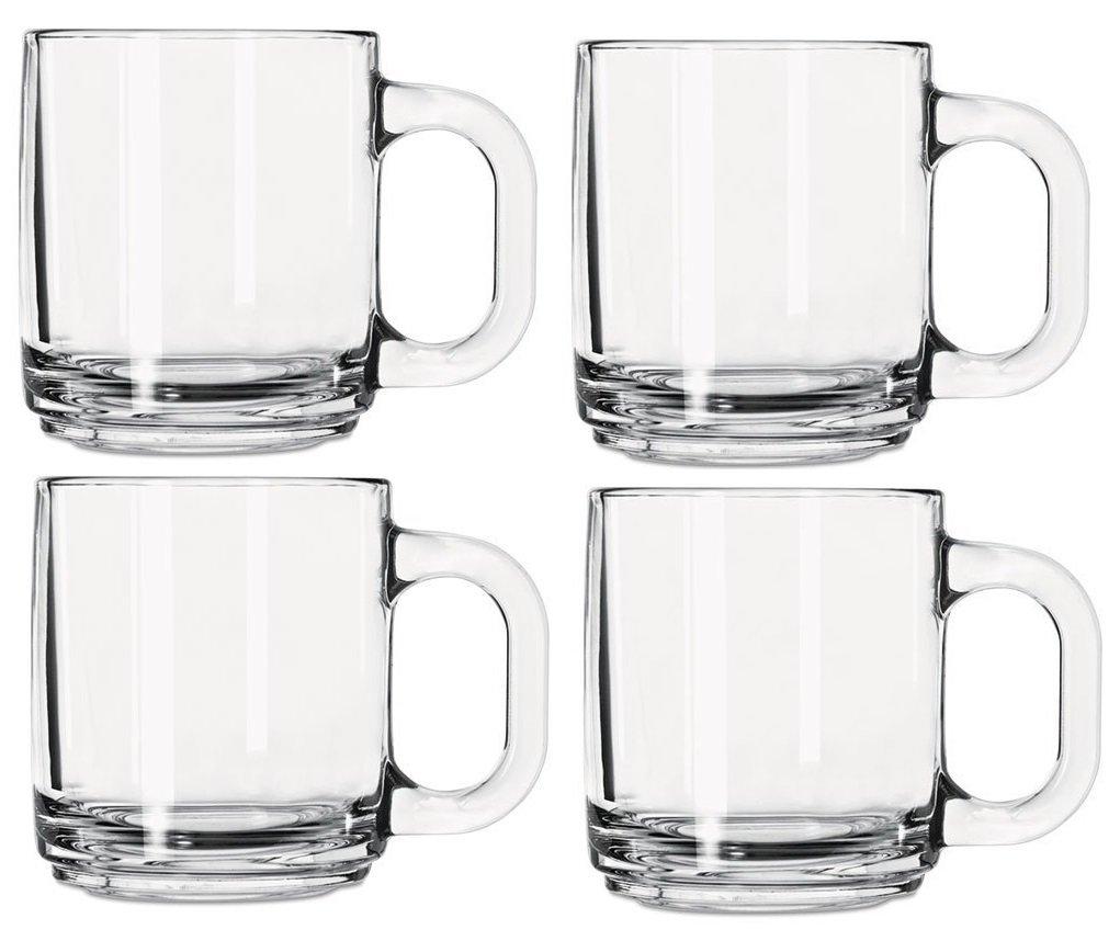 Libbey 5201 10 Ounce Crystal Coffee Mug Warm Beverage Mugs Set of 4