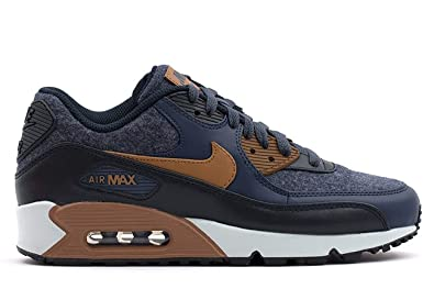 NIKE Mens Air Max 90 Premium Wool Pack Shoes Thunder Blue/Ale Brown/Obsidian