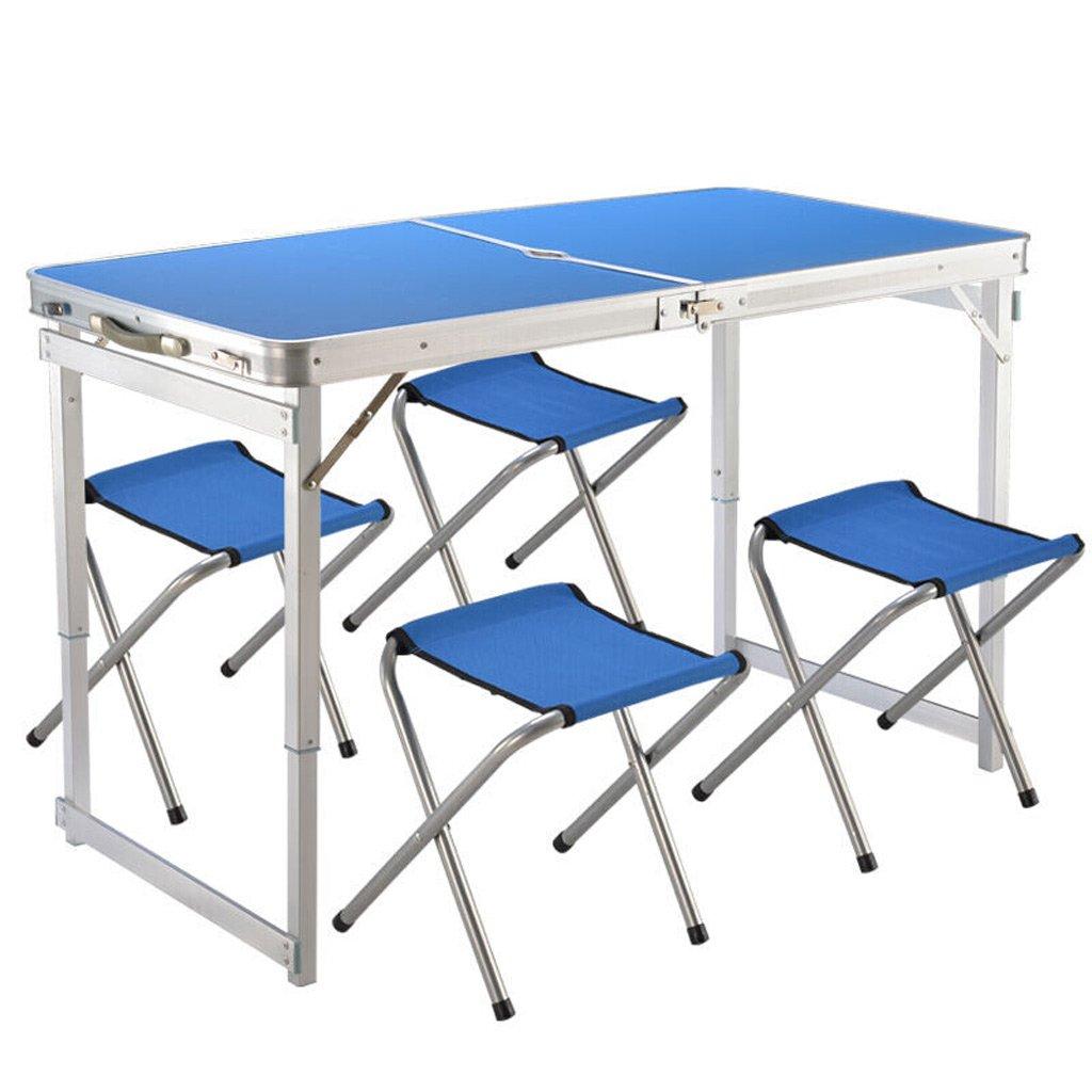 TMY Tragbare Tisch Höhenverstellbare Outdoor Klapptisch Aluminiumlegierung für Beach Grill Park Camping mit 4 Tuch Klappstühle (Farbe : Blau)
