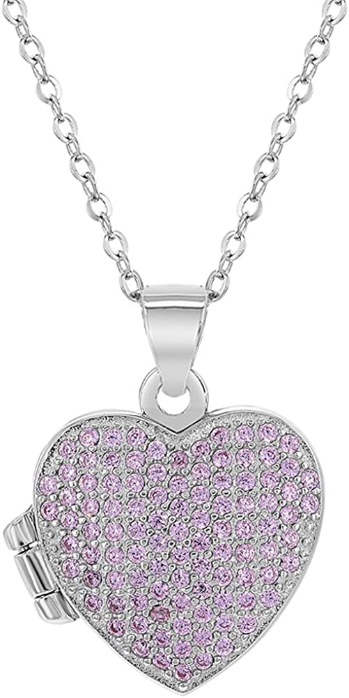925 Sterling Silver Cubic Zirconia Pink Locket for Girls Heart Photo Necklace 16