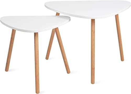 HOMFA Nesting Coffee End Tables Modern Decor Side Table for Home and Office White, Set of 2