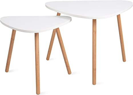 Amazon Com Homfa Nesting Coffee End Tables Modern Decor Side Table For Home And Office White Set Of 2 Furniture Decor