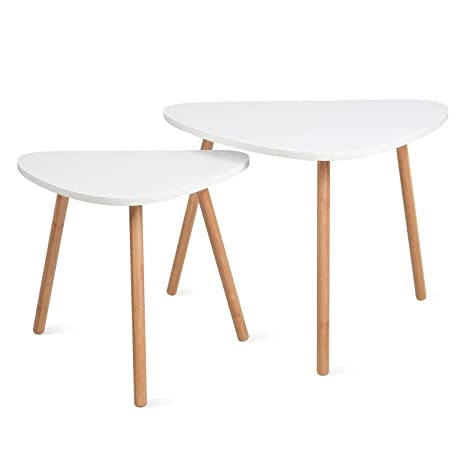 HOMFA Nesting Coffee End Tables Modern Furniture Decor Side Table for Living Room Balcony Home and Office (White, Set of 2)