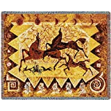 Pure Country Inc. Oglalas Story Blanket Tapestry Throw, 54x70, Multi Colored Woven Cotton Yarn