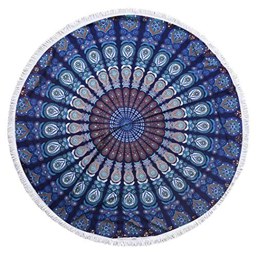 GLOBUS CHOICE INC. Blue Round Small Tassel Tapestry Wall Hanging Mandala Tapestries Indian Cotton Hippie Round Tapestry (72 ()