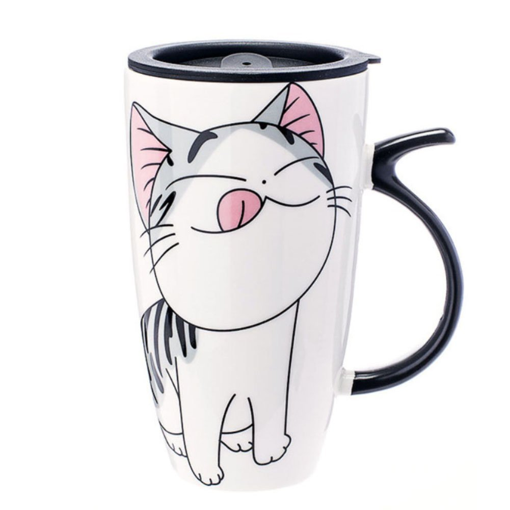 e9ff32ca2a6 Amazon.com: Funny Cat Style Ceramic Mugs with Lid & Spoon Cartoon Creative  Moring Mug Milk Coffee Tea Unique Porcelain Cups 600ml (Naughty): Kitchen &  ...