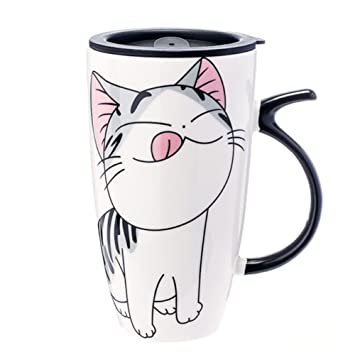 Coffee Milk Mug Travel Gift Ceramic Drink Cute Cat Photo Funny Logo Special Home